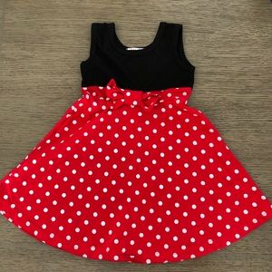 Minnie Mouse style dress red/white polka dots 2T